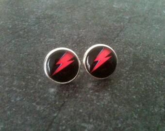 David Bowie earrings, lightning earrings, Aladdin Sane earrings, rockabilly earrings, red and black jewelry, gift idea, bowie tribute