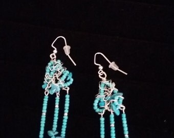 Turquoise and Seed Bead Wire Wrapped Fringe Style Earrings, southwestern, cowgirl, country western