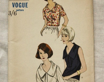Vintage blouse pattern, Vogue 6282, 1960s, size 34 inch bust, uncut and in factory folds