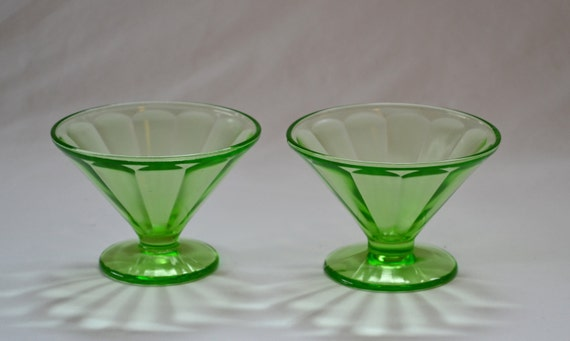 Vintage Depression Glass Uranium Green Sherbet by ...