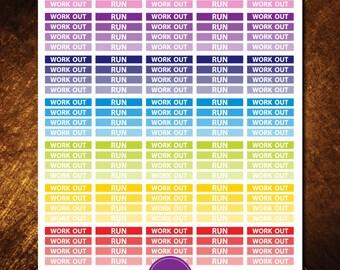 Fitness Printable Stickers, Rainbow Stickers, Diet Motivational Stickers, Printable Planner Sticker - ST-188