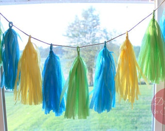 Seaside Tissue Paper Tassel Garland, Green Yellow Blue Tissue Paper Garland, Spring/Summery Tissue Paper Garland