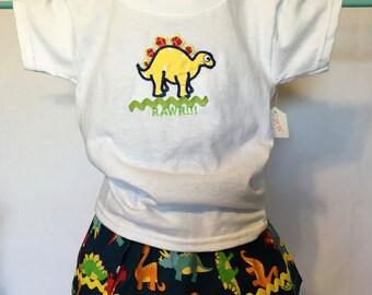 Dinosaur T-shirt and skirt set