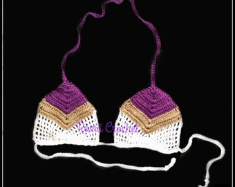 Crochet Bikini Top Batik Bikini Top Stripes Crochet  Top Boho Bikini Crochet Top Gipsy Top Honeymoon Crochet Bikini Top Brazil Kini Batik