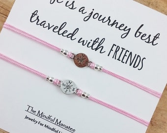 Compass Friendship Bracelet | BFF Compass Bracelet | Best Friend Compass Bracelet| Travel | Wanderlust | Adventure