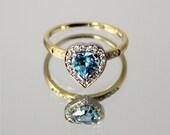Topaz gold ring, Heart shape ring, Love ring, Heart ring, 14k gold ring, Yellow gold ring, Blue stone ring, Blue topaz ring