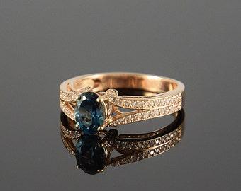 Halo ring, Multistone ring, Topaz ring, December birthstone, Art deco ring, Geometric ring, London blue topaz, Sparkly ring, Blue topaz ring