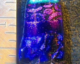 Purple/Green Fused Dichroic Glass Pendant
