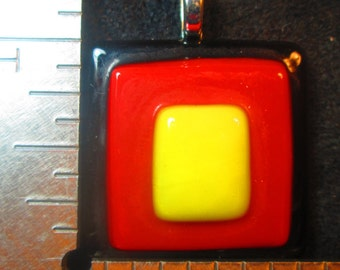 Black Red Yellow Fused Glass Pendant