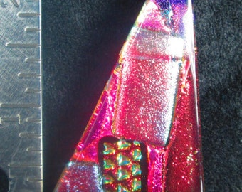 Pink Abstract Fused Dichroic Glass Pendant