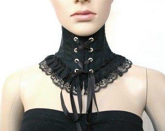Gothic neck corset with puffed top