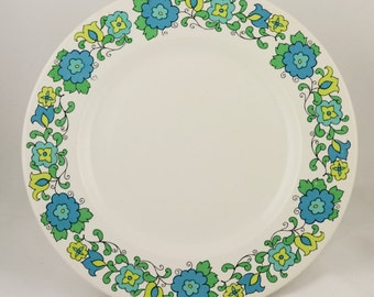 Johnson Bros. Ironstone cake plate , from the 1960s, aqua and green floral design