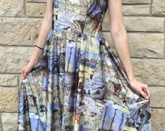 Vintage 1970's Claire Larabee Full Length Polyester Sleeveless Scenic Print Maxi BOHO Dress