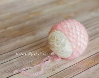 Baby Pink Mohair Bonnet Photography Prop