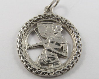 Duel Wielder Fighting with Two Swords Sterling Silver Charm or Pendant.