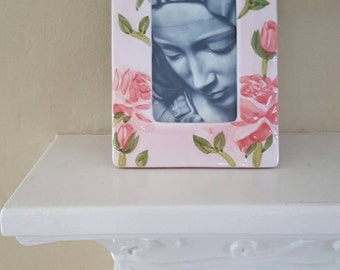 Sorrowful Mother in Ceramic Rose Frame, Vintage Frame, Black and White Print.