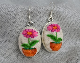 Flower earrings Gift for her Cross stitch jewelry Embroidered earrings Magenta flower Hand embroidered gift Flower pot earring Green jewelry