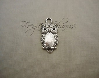10 Owl Charms, Silver Birds, Owl Connector Charms, Owl Links, Silver Owl, Large Bird Connector, Bird Link, 26mm