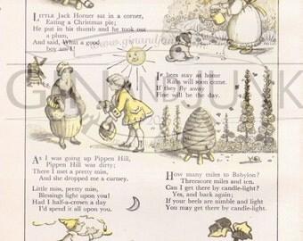 Vintage Nursery Rhyme Print - various rhymes 1950's Nursery Print