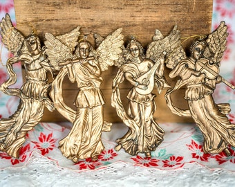 Vintage Gold Angels Christmas Tree Ornaments - Angels Playing Musical Instruments Decorations - Heavenly Angels Gold Christmas Ornaments