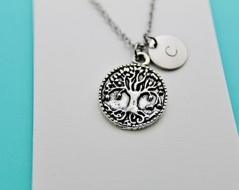 Family Tree Necklace ,Tree-of-Life Jewelry, Family Tree Jewelry, Initial Necklace, Personalized Stamped Initial , Gift For Mom, Woodland