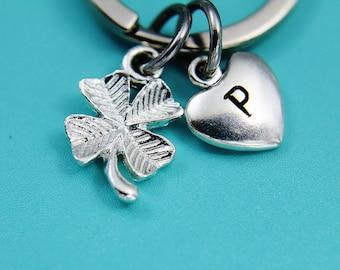 Silver Four Leaf Clover Charm Keychain Silver Clover Keychain Clover Charm Keychain Shamrock Keychain Heart Keychain Gifts under 30