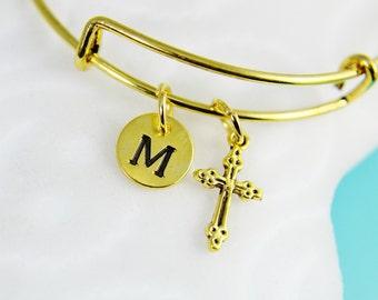 Gold Cross Charm Bangles, Gold Cross Charm Bracelet, Gold Cross Charm Bangle with Personalized Initial Charm on Expandable Bangles