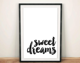 Sweet dreams, nursery art, kids room decor, watercolor art, kids print, black and white, sweet dreams print, nursery decor, instant download