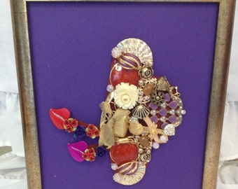 Red Hat Collage made from Jewelry trinkets and Findings