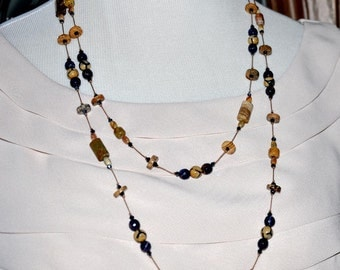 Handknotted Necklace, Handmade Necklace, DZI Agate Necklace, Double Strand Beads, Navy Blue Necklace, Boho Jewelry, Long Beaded Necklace