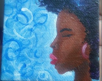 Natural hair art, magnets, canvas magnets, small gift for woman, african american art