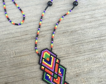 Beaded talisman necklace  •Amethyst Obsidian Earth Bow• geometric, rainbow handwoven, seed bead, hippie, fractal, metaphysical, MadeTo Order