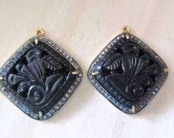 2 Pieces Pave Diamond Oxidised 925 Sterling Silver Black Onyx Hand Carved Pendant, Matched Pairs, Gemstone Connectors, SKU-CC31