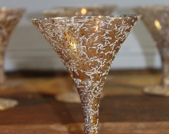 Mini Martini Glasses - Gold Vintage set of 6