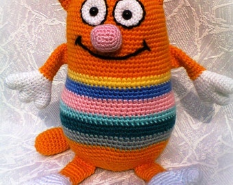 Orange Striped Rainbow Cat Rainbow Crochet toy Cat Plush Stuffed Cat Orange Striped Cat Crochet Toy Cushions Cat Gift for Kids MADE TO ORDER
