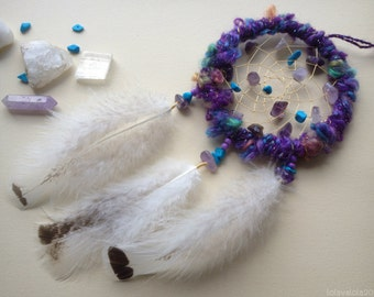 Small violet dreamcatcher with natural stones and fluffy feathers