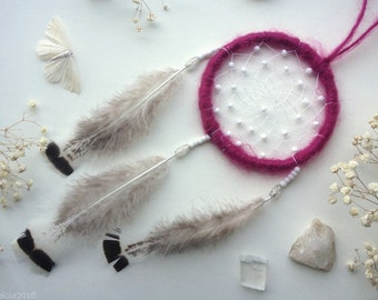 Small violet dreamcatcher with white beads and fluffy feathers