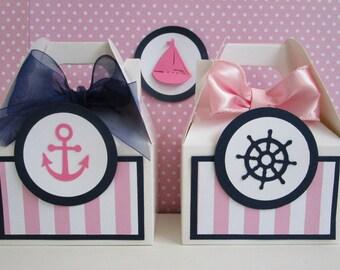 Nautical Favor Boxes, Favor Boxes, Girl Nautical Favor Boxes, Nautical Party Favors, Beach Favor Boxes, Seashore Favor Boxes.