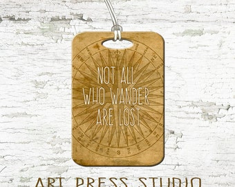 Not all Those Who Wander Are Lost  Luggage Tag, Vintage Compass Bag Tag, Initial Monogram Luggage Tag
