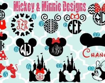Monogrammed Mickey & Minnie Vinyl Decals - Monogrammed Decals - Monogram Vinyl- Disney - Mickey Mouse - Minnie Mouse - Mouse - Mickey Minnie