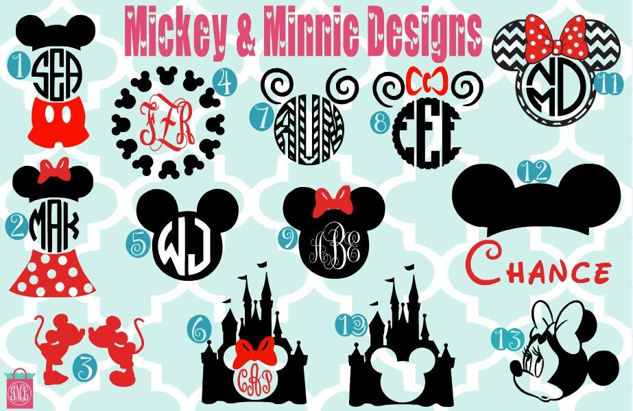 Monogrammed Mickey Minnie Vinyl Decals Monogrammed Decals - Disney custom vinyl stickers