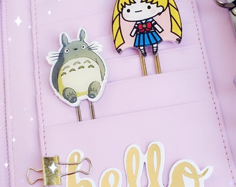 Planner Clip : Kawaii SAILOR MOON / TOTORO Character PaperClip | Page Clip | Bookmark | Page Marker . Planner accessories supply.