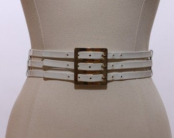 60s white patent leather triple belt waist cinch corset mod cage three row shiny gold buckle accessory solid white stacked hippie S M