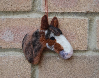 Horse Art Decoration - Custom Portrait Hanging Decoration Needle Felted Equestrian Gift for Horse Lover - Needle Felted Equine Rustic Decor
