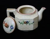 1940s Japanese Hand-Painted Yellow Floral Mini Basket Weave Teapot with Handle and Lid Decorative & Lovely! *On Sale*
