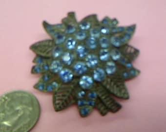 Little Nemo Blue Rhinestone Silvertone Brooch
