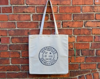 Canvas Tote Bag, French Postmark, Reusable Shopping Bag, Eco Friendly Bag