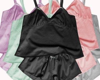 Bonboneva Sleepwear: Cotton Satin Sleeping Set French Knickers Shorts and Camisole Sexy Sleepwear in Soft Cotton Satin