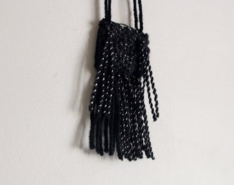Black Monochrome Woven Necklace