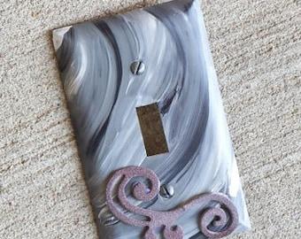 PRICE  DROP-Black & Grey Swirl Light-Switch Plate